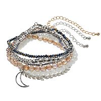 Crescent & Beaded Stretch Bracelet Set