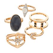 Cabochon, Crescent & Marquise Ring Set