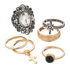 Cross, Filigree & Starburst Ring Set