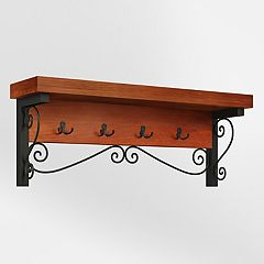 Alaterre Furniture Artesian Scrollwork Coat Hook Wall Shelf
