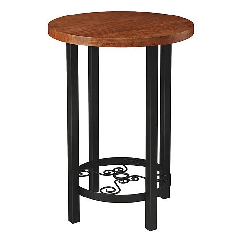 Alaterre Furniture Artesian Scrollwork Round End Table