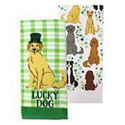 Celebrate St. Patrick's Day Together Lucky Dog Kitchen Towel 2-pk.