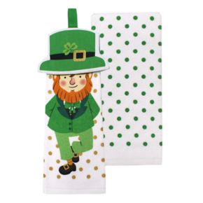 Celebrate St. Patrick's Day Together Leprechaun Tie-Top Kitchen Towel 2-pk.