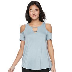 Juniors' Pink Republic Cold Shoulder Short Sleeve Top