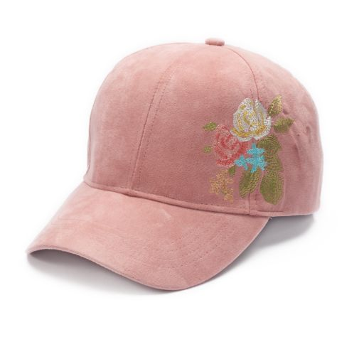 Mudd® Embroidered Floral Faux Suede Baseball Cap