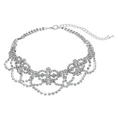 Crystal Avenue Cup Chain Draped Choker Necklace