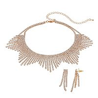 Crystal Avenue Fringe Choker Necklace & Linear Earring Set
