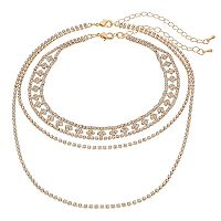Crystal Avenue Choker & Double Strand Necklace Set