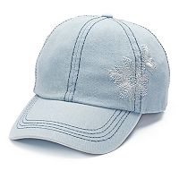 Mudd® Embroidered Flower Denim Baseball Cap