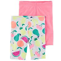 Girls 4-8 Carter's 2-Pack Fruit & Solid Bike Shorts