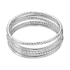 Sterling Silver Textured Bangle Bracelet Set