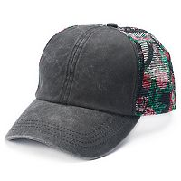 Mudd® Floral Mesh Back Ponytail Baseball Cap