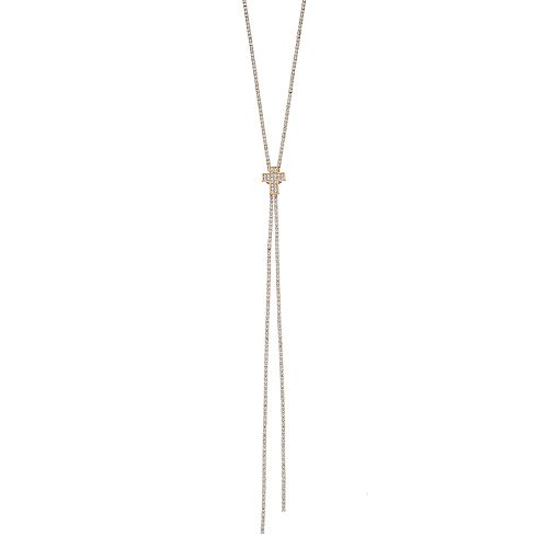 Crystal Avenue Long Cross Lariat Necklace