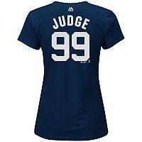 Women's Majestic New York Yankees Aaron Judge Player Name and Number Tee