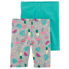 Girls 4-8 Carter's 2-Pack Flamingo & Solid Bike Shorts