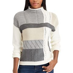 Women's Chaps Patchwork Mockneck Sweater