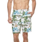 Big & Tall Croft & Barrow® Tropical Island Printed Swim Trunks