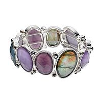 Napier Simulated Abalone Oval Stretch Bracelet