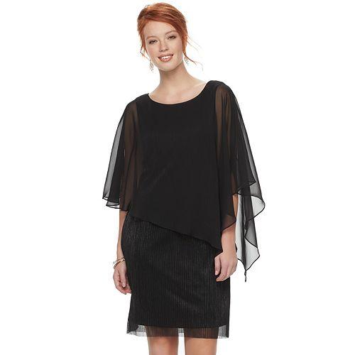 Women's Connected Apparel Metallic Chiffon Popover Dress