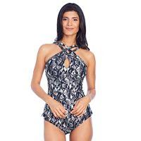Women's Ibiza Snake Skin Print Crisscross Tankini Top