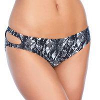 Women's Ibiza Snake Skin Print Cutout Bikini Bottoms