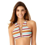 Juniors' California Sunshine Strappy Striped High-Neck Bikini Top