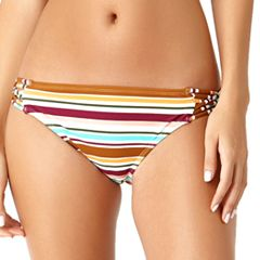 Juniors' California Sunshine Strappy Striped Hipster Bikini Bottoms