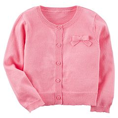 Girls 4-8 Carter's Pink Bow Button-Front Cardigan