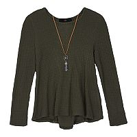 Girls 7-16 IZ Amy Byer Lace-Up Back Swing Thermal Top with Necklace