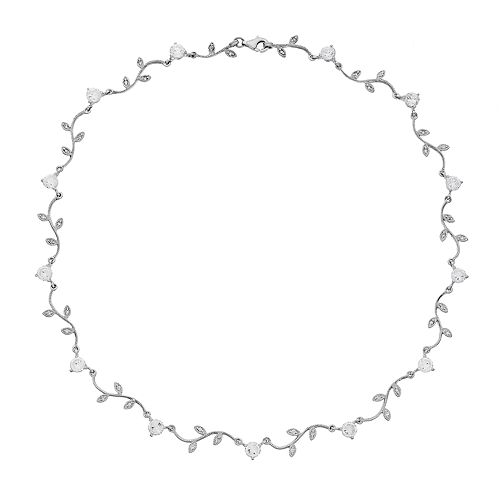 Sterling Silver Lab-Created White Topaz Leaf Necklace