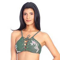 Women's Ibiza Embroidered Lace-Up Bikini Top