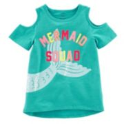 "Girls 4-8 Carter's ""Mermaid Squad"" Sequin Graphic Cold-Shoulder Top"