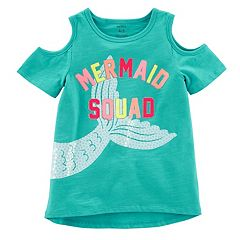 Girls 4-8 Carter's 'Mermaid Squad' Sequin Graphic Cold-Shoulder Top