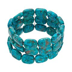 Sterling Silver Simulated Turquoise Multi Row Stretch Bracelet