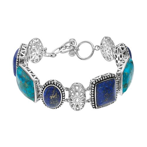 Sterling Silver Lapis Lazuli & Simulated Turquoise Toggle Bracelet