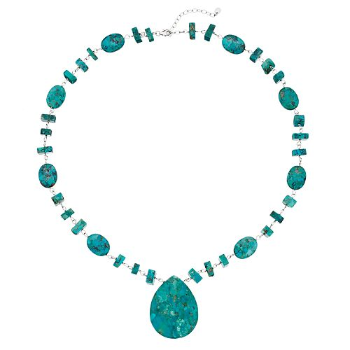 Sterling Silver Simulated Turquoise Teardrop Necklace