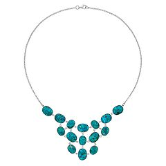 Sterling Silver Simulated Turquoise Statement Necklace