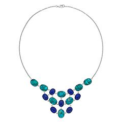 Sterling Silver Lapis Lazuli & Simulated Turquoise Statement Necklace