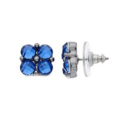 Napier Stone Cluster Button Stud Earrings