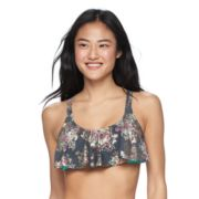 Mix and Match Foiled Floral Flounce Bikini Top