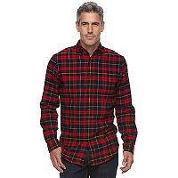 Men's Croft & Barrow® True Comfort Plaid Slim-Fit Flannel Button-Down Shirt
