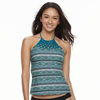 Mix and Match Geometric High-Neck Tankini Top