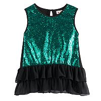 Disney D-Signed Descendants 2 Girls 7-16 Sequin Front Ruffle Tank Top