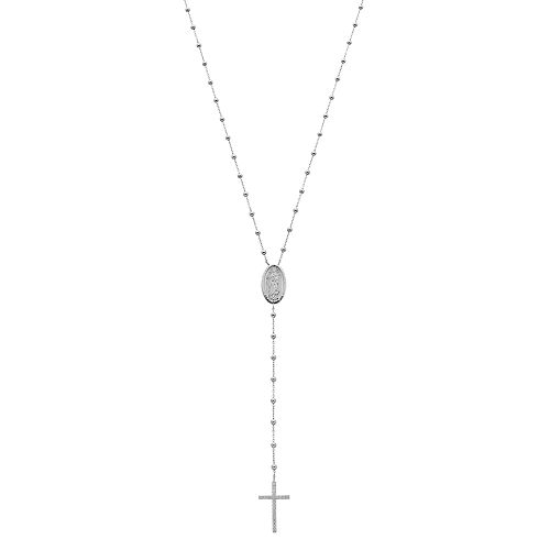 Sterling Silver Cubic Zirconia Rosary Necklace