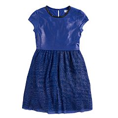 Disney D-Signed Descendants Girls 7-16 Metallic Knit Plisse Flare Dress