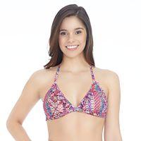 Mix and Match Striped Ruffle-Trim Halter Bikini Top