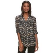 Juniors' Candie's® Print Split-Back Hem Blouse