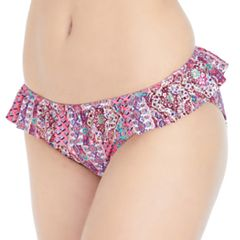 Mix and Match Patterned Flounce Hipster Bikini Bottoms