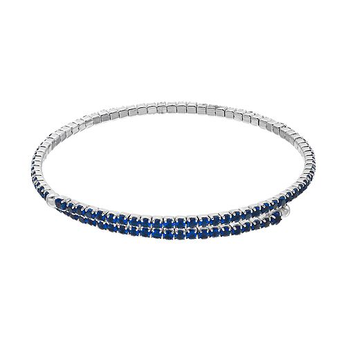 Sterling Silver Blue Cubic Zirconia Bypass Bracelet