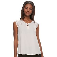 Juniors' Candie's® Lace-Up Flutter Sleeve Top